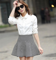 2014 spring bust skirt pleated skirt female puff skirt sheds basic high waist short skirt