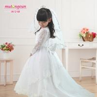 robe enfant Female child princess child quality flower girl dress skirt wedding dress child long-sleeve train full dress