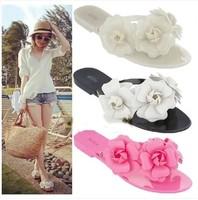 Women's Sandals 2014 Summer Beach camellia sandal flower melissa style jelly shoes flip flops slippers lady flat shoes