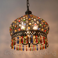 S size BLACK IRON SHELL COLORFUL K9 Crystal Ceiling Pendant Lamp Lighting Chandelier Bedroom dining Bohemia corridor bedroom
