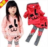2014 baby clothing set cotton coat + pantskirt kids wear rabbit tracksuits children clothes casual suit 5pcs/lot wholesale sets