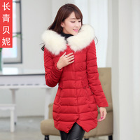 women summer dress Winter wadded jacket elegant fur collar evergreen 2013 design long wadded jacket female outerwear dress