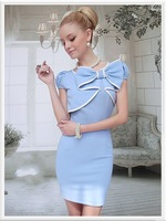 SL 2014 NEW! Free Shipping Wholesale New Fashion Women's Summer Blue Bow Tight-fitting Short-Sleeved Dress