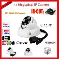 P2P 960P 1.3 Megapixel video dome ip camera with IR-CUT, 1/3 COMS Sensor,ONVIF,HD indoor Night Vision  Network cctv camera