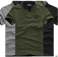 2014 New Men's V-neck Short Sleeve Summer Casual Cotton T shirts,Military Green Tee Shirt,Camisetas Camisa Masculina