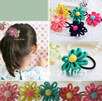 Lovely 2014 New Wholesale Girl Kids Tiny Hair Accessary Flower Hair Bands Elastic Ropes Ties Ponytail Holder PEB-0127