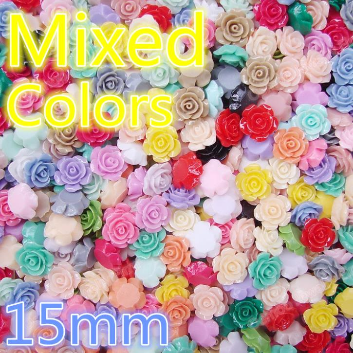 15mm 100pcs mixcolour resin rose flower,resin flower Mixed colors Flowers Cabochons Cameo free shipping DIY 196(China (Mainland))