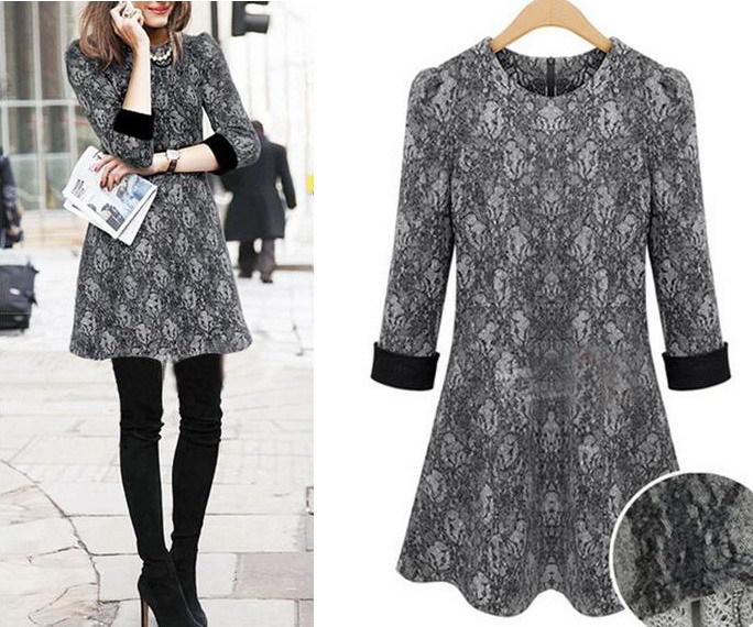 produto Plus size 5XL women dresses woolen knitting gowns roupas femininas Lace print super slim falbala clothing high street embroidery