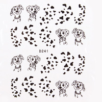 33 Styles Nail Decals Black Cat Dog Anchor Feather Clock Water Transfer Stickers  Free Shipping