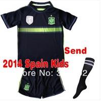 New Stock!! 2014 World Cup Spain Away baby/Kids/Youth Full Set (jersey+short+Sock),14 15 Spain boys/girls soccer uniform