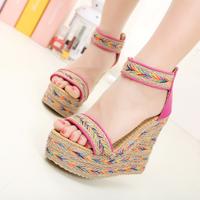 2014 wedges platform sandals knitted color block decoration open toe ultra high heels platform female sandals