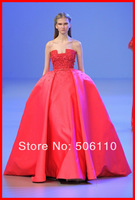 2015 Red Ball Gowns Ellie Saab Haute Couture Party Dresses Corset Appliques Floor-Length New Amazing Sashes Evening Prom Dresses