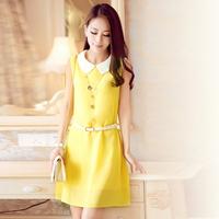 free shipping 2014 summer women's peter pan collar plus size chiffon one-piece dress summer sleeveless tank dress