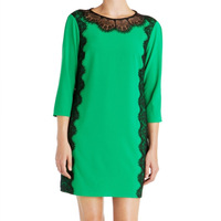 Fashion autumn 2013 green lace patchwork wrist-length sleeve one-piece dress brief all-match basic skirt