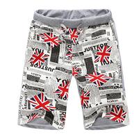 2014 fashion color block decoration patch pocket comfortable breathable men beach capris  shorts