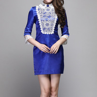 2013 autumn one-piece dress fashion vintage royal wind elegant embroidered lace skirt blue dress