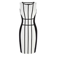 Fashion OL outfit brief black and white color block mosaic lines sleeveless one-piece dress 2013 work wear dress
