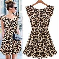 2014 spring and summer plus size slim leopard print chiffon one-piece dress ruffled