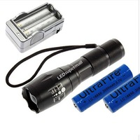 E17 2000 Lumens 5-Mode CREE XM-L T6 LED Flashlight Zoomable Focus Torch +2*18650 battery+charger