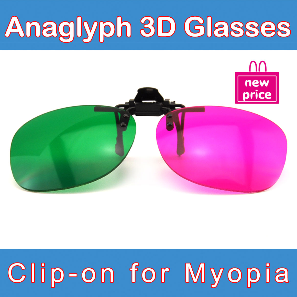 (3 pieces/lot) Popular Clip-On Complementary Magenta & Green 3D Glasses / 3D Eyewear for Myopia & Prescription People(China (Mainland))