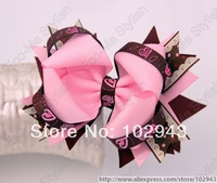 Free shipping Chinapost 10pcs/lot Girl Bow Hair Clips in Pink style Big bow for Photo Props,toddler hair clips