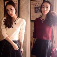 2014 women's spring sweet vivi small crochet pullover o-neck short design high waist sweater