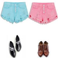 New 2014 Summer  Fashion Color Yellow Green Pink Denim Shorts Women's Jeans Hole Denim Shorts