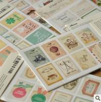 Wholesale,(1 lot=32 sets=64 Sheets ) DIY Scrapbook Paper Retro Tower Flower Stamps Stickers Decoration Sticker