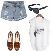 New 2014 Summer Fashion Denim Washed Blue Jeans Women's Hot Hole Shorts Vintage Shorts