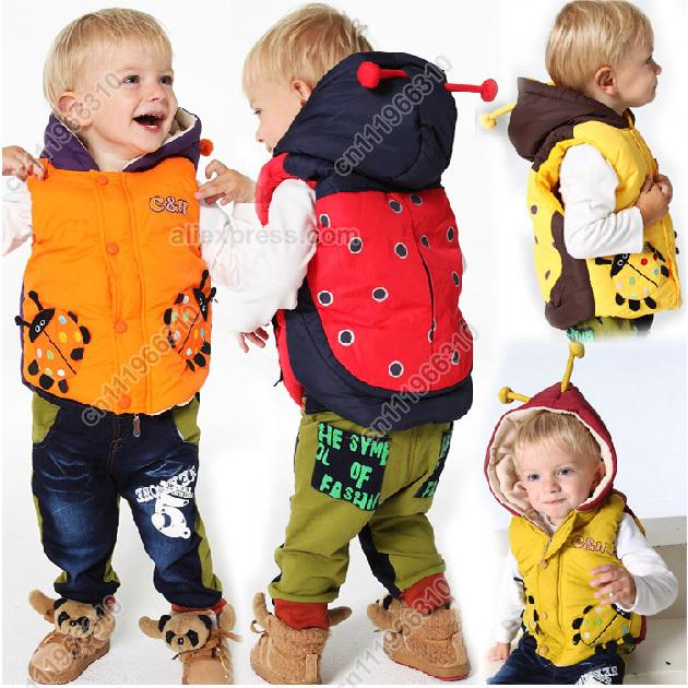 Ladybug Cartoon Baby Kid Toddler Infant Child Boy Girl Waistcoat Vest Jacket Outfit Outwear Hoodie Coat Clothing Costume Suit(China (Mainland))