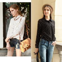 Hot Sale Korean Style Women dot Chiffon shirt,most fashion and comfortable chiffon material