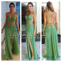 Sexy Vestidos De Fiesta See V Neck Cap Sleeve Gold Sequined Appliques A Line Chiffon Prom Evening Dresses 2014 DYQ1093