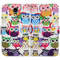 10Pcs/Lot Bfun Colorful Owl Bird Wallet Leather Case Cover for Samsung Galaxy S4 i9500