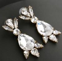new 2014 design luxury J C brand jewelry earrings fashion clear water drop crystal earrings
