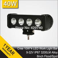 "Free Shipping 8"" Inch Cree 40W LED Work Driving Light Bar IP67 12V 24V Flood Spot For 4WD 4X4 Trailer TRUCK BOAT UTE SUV ATV"