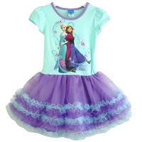 Frozen Girl Print Dress Brand Elsa Anna Princess Party Dress Summer 2-7y Short Sleeve Shimmer Mesh Tutu Dress Girl Clothing