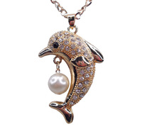 New Retailing Min.order is $15 (mix order) LD - CAC2770 -  necklace - Stereo dolphin Imitation  pearls
