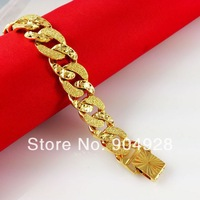 Real 24K Yellow Gold Plated Bracelet/Bangle ! Africa Blacks Jewelry Luxury Women Men Curb Figaro Link Chains C039 Free Shipping