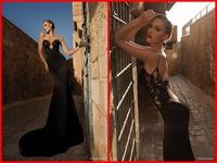 Sexy Black Evening Dresses 2015 Galia Lahav Backless Spaghetti straps Long Mermaid Prom Party Dress Gowns 2015 Appliques Cheap