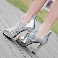 2014 women's shoes fashion genuine leather cutout open toe shoe platform high-heeled sandals thick heel gladiator