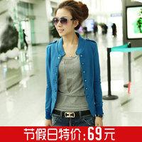 Plus size clothing mm spring sweater cardigan double breasted blazer short jacket