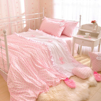 korean princess bedding pink luxury bedding set king size 4 pieces 100% cotton home textile