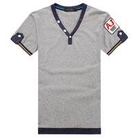 2014 spring cotton short-sleeve T-shirt 100% V-neck button t-shirt fashion plus size male t-shirt plus size