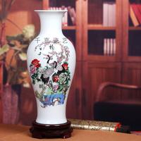 Ceramics eggshell porcelain famille rose vase fish tail bottle bird meishucunian modern brief