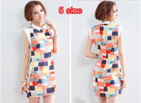 New 2014 spring/summer Fashion girl OL  plaid print women summer dress chiffon one-piece dress