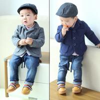 Children's clothing male child spring 2014 baby fleece casual blazer child 100% cotton suit jacket