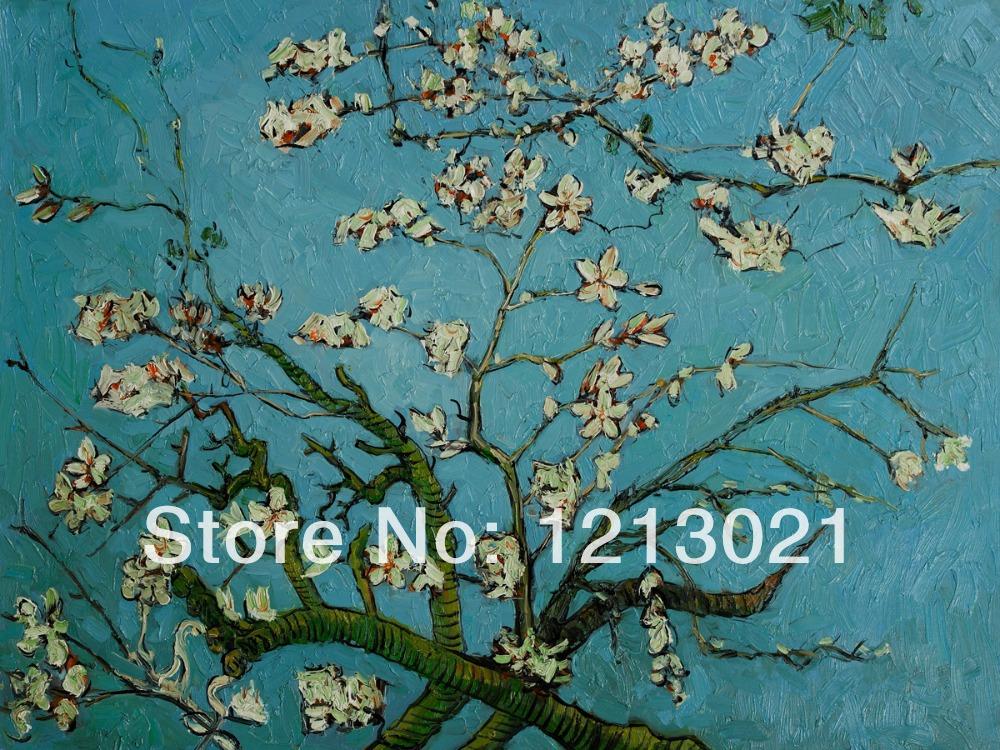 Galhos de uma árvore de amêndoa na flor por Vincent Van Gogh - pinturas a óleo de alta qualidade de reprodução(China (Mainland))