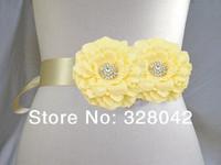 Min order 1 pcs cream fabric peony flower sash Belt  Wedding bridesmaid sash girl sash Maternity sash belt girls accessories