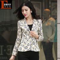 Hot-selling beautiful 2014 print gentlewomen slim small suit jacket formal plants and flowers long-sleeve