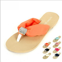 2013 New Summer women's flats EVA Chiffon Rhinestone beach Sandals women's flip-flops females slipper sloafers wholesales
